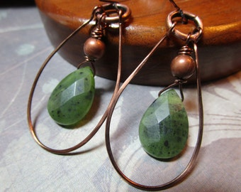 Green Canadian Jade Copper Hoop Earrings Tribal Primitive Boho #1099