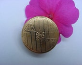 Art Deco Lady Esther Brass Compact Rouge Blush Bright Red Vintage Purse Size