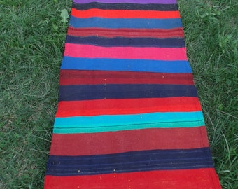 Long Striped Carpet Kilim Runner Hand woven tough wool. 6 ft 3 x 2 ft 2   190 x 66 cm
