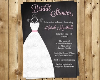 Chalkboard Bridal Shower Invitations, Wedding Gown, Dress, Pink, Gray, Set of 10 Printed Cards, FREE Shipping, CKGWN, White