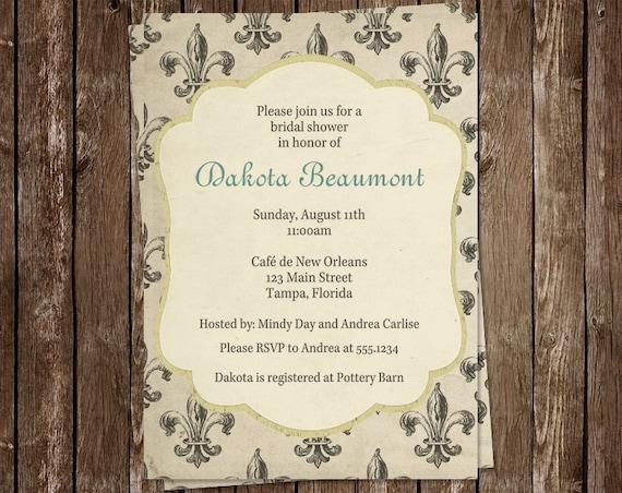 Bridal Shower Invitation, Blue, French, Vintage New Orleans, Fleur de Lis, Wedding, Set of 10 Printed Cards, FRQTR, French Quarter