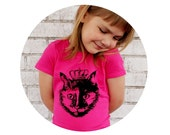 Crowned Queen Cat, Hand Printed Girls Fitted Tshirt, Short Sleeved, Princess, Clothing For Little Girls, Screenprint Shirt, Raspberry Pink