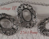 25x18mm Antique Silver Setting - 'Cottage II' - 3 pcs : sku 08.07.15.6 - W41