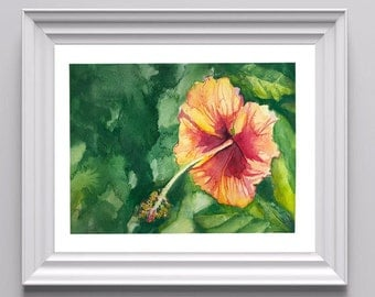 Digital Print of Original Watercolor Painting on Paper of Tropical Flower, Cold Press Paper, Fine Art, Multiple Sizes Available!