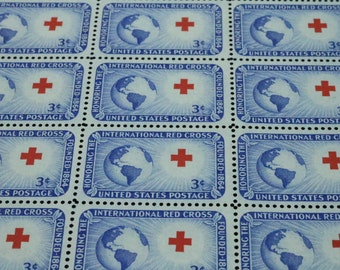 1952 Sc. #1016 Red Cross US Postage Stamps Sheet of 50 Unused Postage Stamps