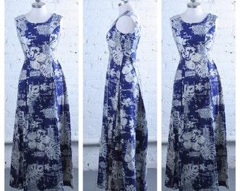 Vintage 1960s-70s Linen Bark Cloth Hawaiian Maxi Dress