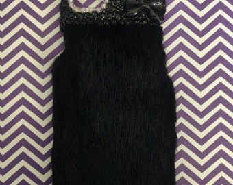 iPhone 5s Phone Case Girly Black Faux Mink Fur Bling