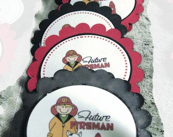 Fireman lollipop favors or cupcake toppers
