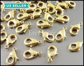 10 Large 12mm gold plated brass lobster claw clasps for jewelry making, keychain clasp, necklace clasp, bracelet, charm clasp B002-BG-LG