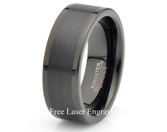 Mens Wedding Band, Mens Tungsten Ring, Brushed Tungsten Ring, Mens Tungsten Ring, Anniversary Ring, 8mm Wedding Band, Mens Ring, Mens Band