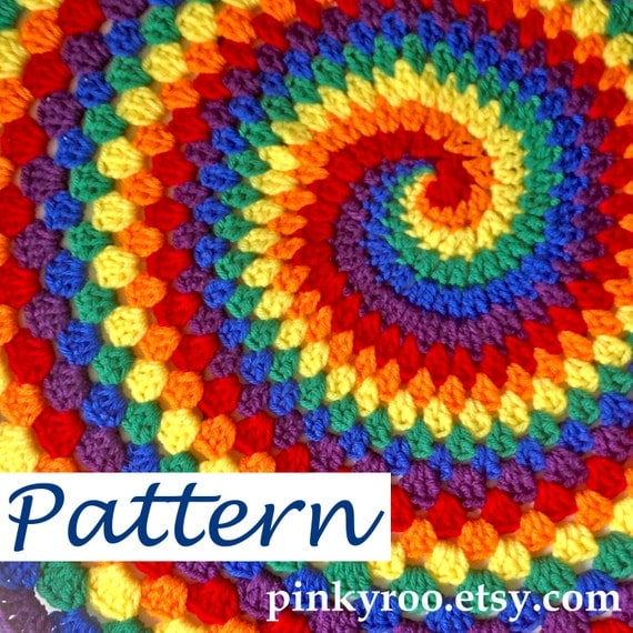 pdf pattern for rainbow spiral granny blanket