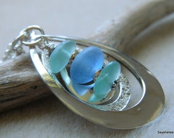 Sea Glass in Aqua, Blue and Pastel Green, Triple Sea Glass Necklace