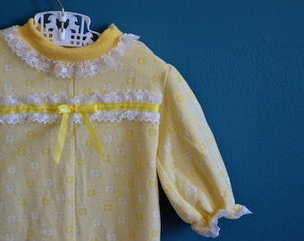 Vintage Yellow Knit Floral Print Jumpsuit by Health-tex - Size 12 Months