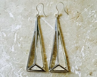 SILVER Triangle Earrings // Long Sexy Drop Earrings // Modern Boho Jewelry // Tower of GORGEOUS Earrings // Lead Free Nickel Free Earrings