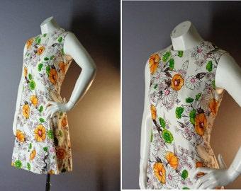 60s dress 1960s vintage WHITE POPPY DAISY flowers orange pink green mod A line dress