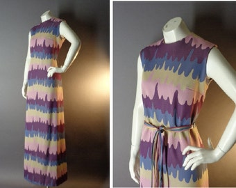 60s 70s dress 1960s 1970s vintage NOVELTY DRIPPING PAINT melting artsy pink purple mod maxi dress