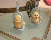 Pierced Earrings Happy Little Yellow Birdies On A Blue Swing FREE SHIPPING