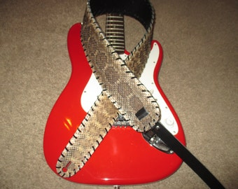 ON SALE Diamond Back Rattlesnake Skin Guitar Strap