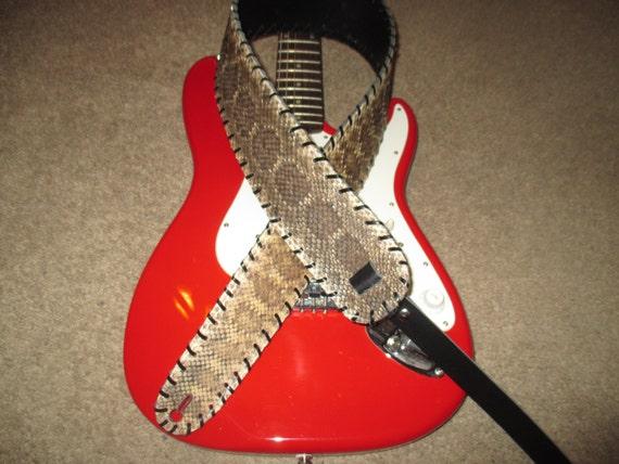 Diamond Back Rattlesnake Skin Guitar Strap