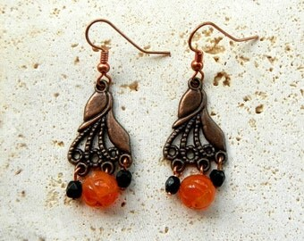 Orange Agate Black Crystal and Copper Dangle Earrings