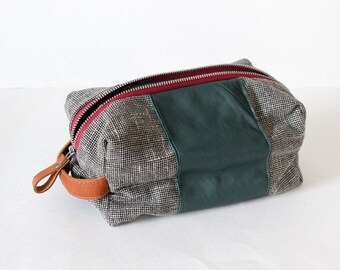 Dopp bag Toiletry case repurposed woven fabric with green and brown leather