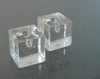 Mid Century Glass Cube Candle Holders. 2 Ice Cube Shape Candleholders. Made in Poland.