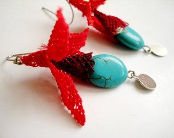 Traditionlal Turkish Needlework oya Earrings, turquoise drop earrings, turquoise dangle earrings