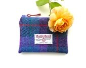 HARRIS TWEED Makeup bag , cosmetic pouch , purple - blue - grey - orange tartan , handwoven and handmade in Scotland