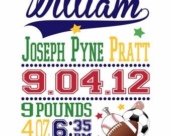 Sports Birth Announcement Wall Print