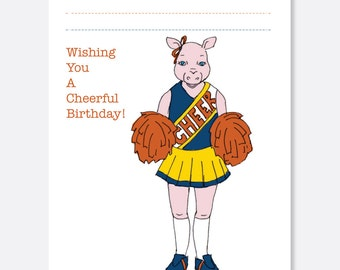 Cheerleader Birthday Card, Fun Birthday Card, Animal Birthday Card, Kid Birthday Card, Boy Birthday Card, Girl Birthday Card
