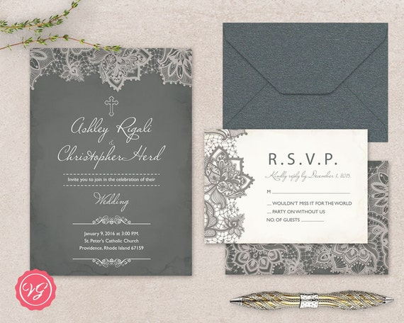 Christian lace marriage invitation and rsvp card cross like this item stopboris Gallery