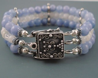 Aquamarine and Moonstone Bracelet, Triple Strand Blue and White Gemstone with Sterling Silver Safety Clasp