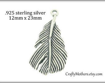 Use TAKE10 for 10% off! Bali Sterling Silver LARGE Feather Charms, 12mm x 23mm (oxidized finish), nature inspired, birds, CHOOSE a quantity