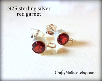 Take 15% off with 15OFF20, Red GARNET Gemstone and Sterling Silver Post Earrings w/ backings (4mm) - 1 Pair (2 pieces)