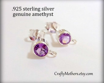 Flash Sale! REDUCED, AMETHYST Gemstone and Sterling Post Earrings w/ backings - 1 Pair (2 pieces), violet purple, bridal