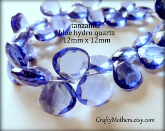 TANZANITE BLUE Hydro Quartz Periwinkle Lavender Blue Faceted Heart Briolettes, (1) Matched Pair, 12mm, jewelry supplies
