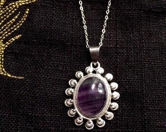 Amethyst Silver Necklace by MinouBazaar