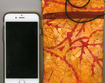 Cell Phone & Passport Bag - Quilted Cotton - Orange Batik, Zippered - Fits iphone