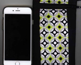 Cell Phone Bag - Quilted Cotton -  Zipper, Short strap, black, neon green - Fits iphone