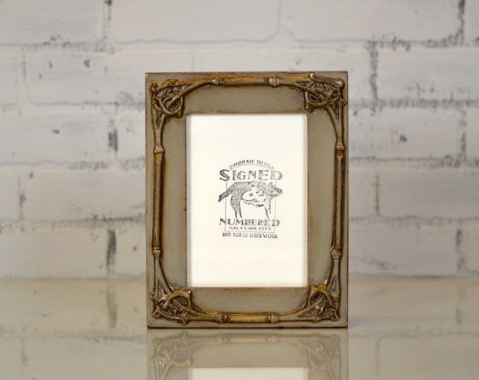 5x7 inch Picture Frame in Fancy Trim Style with Vintage Silver Plus Extra Stain Finish - Decorative Wooden 5 x 7 Photo Frame