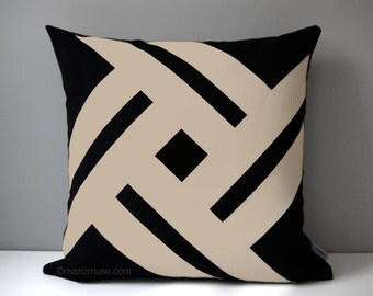 Black & Beige Outdoor Pillow Cover, Modern Pillow Cover Geometric Throw Pillow Cover, Decorative Sunbrella Pillow Cushion Cover, Pinwheel