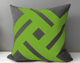 Grey & Lime Green Outdoor Pillow Cover, Modern Pillow Cover, Decorative Cushion Cover, Gray Macaw Sunbrella Throw Pillow Case, Mazizmuse