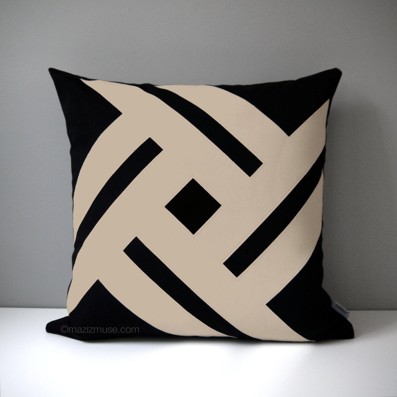 Black & Beige Outdoor Pillow Cover Modern Pillow Cover