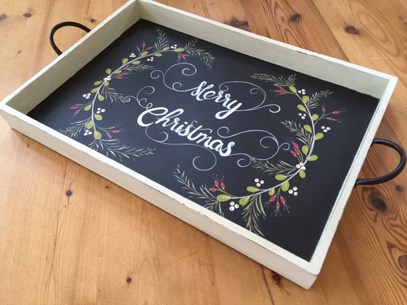 Large Rustic Christmas Serving Tray With Chalkboard Art For