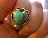 Vintage Ethnic 925 and Old Indian Turquoise ring Rare Find Heart shaped Unique setting. - On Sale Now