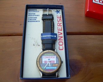 Vintage Collectible Converse Quartz watch New old stock in original Box, in good condition Genuine leather band