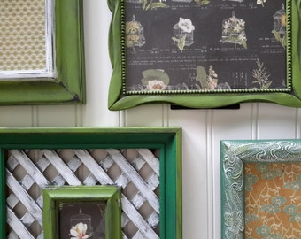 Shabby Chic Vintage Picture Frames, Wedding Frames, Garden Party Theme, Distressed Green Picture Frames, Wall Decor Set of Five