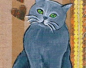 Mixed Media Collage Art ACEO Grey Cat