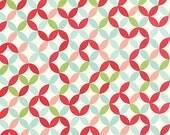 Hello Darling Fabric by Bonnie and Camille for MODA 14 Multicolored Floral Orange Peel Circular Lattice Work
