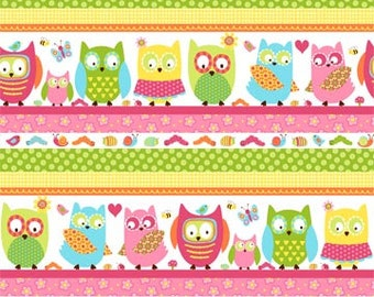 Whooo Loves You Northcott Owls Owl Stripe Stripes Line Up Pink Fabric
